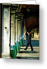 Waiter Walking At San Marco In Venice Greeting Card