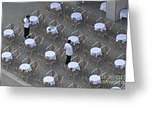 Waiters At Empty Cafe Terrace On Piazza San Marco Greeting Card