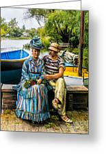 Waiting By The Boats Greeting Card
