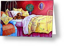 Waiting For Mom - Dachshund Greeting Card by Lyn Cook