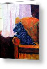 Waiting For Mom - Scottish Terrier Greeting Card