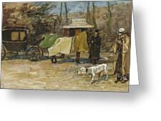 Waiting In A Car Park  Willem De Zwart  1872   1931 Greeting Card