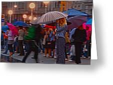 Waiting In The Rain Greeting Card
