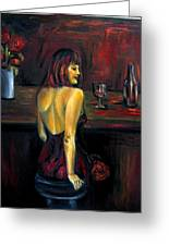 Waiting... Oil Painting   Greeting Card