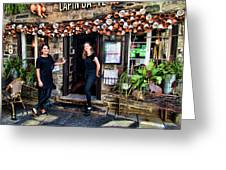 Waitresses At Outdoor French Terroir In Old Quebec City Greeting Card
