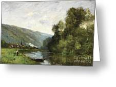 Walkers Along A River Greeting Card
