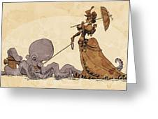 Walkies For Otto Greeting Card by Brian Kesinger