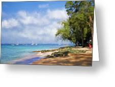 Walking Along The Beach, Holetown, Barbados Greeting Card