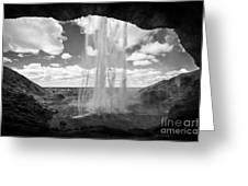 walking behind Seljalandsfoss waterfall iceland Greeting Card