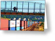 Walking Bridge Over The Tracks Greeting Card