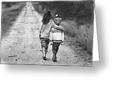 Walking Down The Road Greeting Card