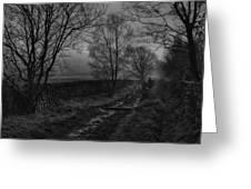 Walking In A Muddy Lane Greeting Card