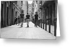 Walking In Barcelona Greeting Card