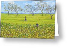 Walking In The Mustard Field Greeting Card