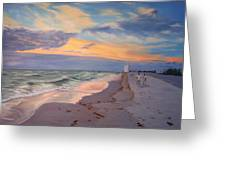 Walking On The Beach At Sunset Greeting Card