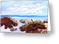 Walking On The Beach On A Rainy Day Greeting Card