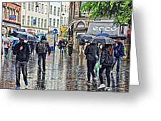 Walking Street Wet Down Greeting Card