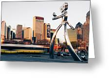 Walking Tall Traveling Man - Dallas Texas Skyline Greeting Card