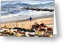 Walking The Beach On Long Beach Island Greeting Card