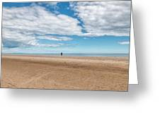 Walking The Dog On The Beach Greeting Card
