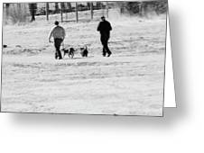 Walking The Dogs Greeting Card