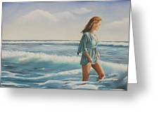 Walking The Surf Greeting Card