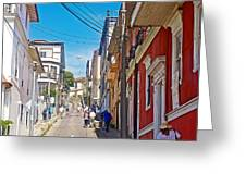 Walking Up Steep Streets In Hilly Valparaiso-chile Greeting Card
