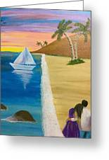 Walking With You On Beach Greeting Card