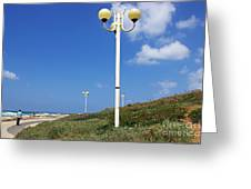walkway along the Tel Aviv beach Greeting Card