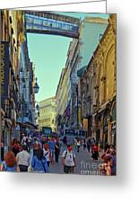 Walkway Over The Street - Lisbon Greeting Card