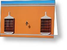 Wall Lamp And Windows In Trujillo In Peru Greeting Card