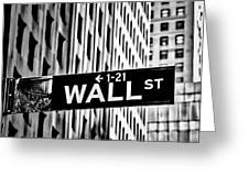 Wall St Sign New York In Black And White Greeting Card