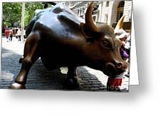 Wall Street Bull Greeting Card