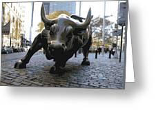 Wall Street Bull Color 16 Greeting Card