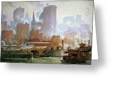 Wall Street Ferry Ship Greeting Card