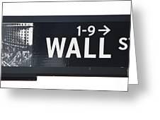 Wall Street Sign Close Up 1 Greeting Card