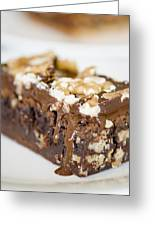 Walnut Brownie On A White Plate Greeting Card