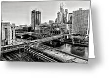 Walnut Street City View In Black And White Greeting Card
