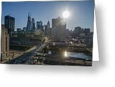 Walnut Street Sunrise From University City Greeting Card