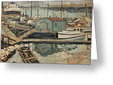 Walter  E  Schofield 1867-1944 Dock With Shed Greeting Card