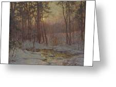 Walter Launt Palmer 1854-1932 Winter Stream At Sunset Greeting Card