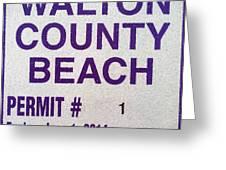 Walton County Beach Permit Greeting Card