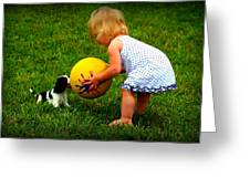 Wanna Play Ball Greeting Card by Susie Weaver