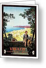 Warazze, Savona, Italy, Woman On Hotel Terrace Greeting Card