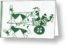 Warli Farmers In Bullock Cart Greeting Card