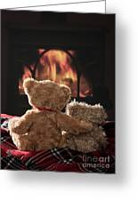 Warm And Cosy Teddies By The Fireside Greeting Card