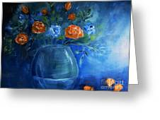 Warm Blue Floral Embrace Painting Greeting Card