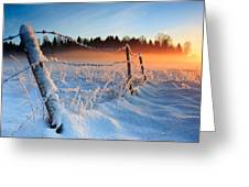 Warm Cold Winter Sunset Greeting Card