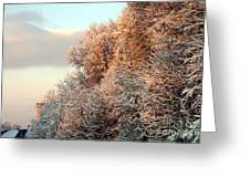 Warm Light Snow Greeting Card