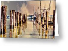 Warm Reflections In The Marina Greeting Card